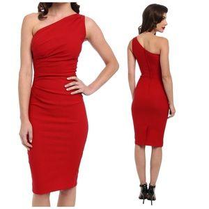 Stop Staring! Gathered Ava Dress Red medium